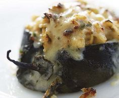 Poblanos Stuffed with Cheddar and Chicken - Fine Cooking Recipes, Techniques and Tips dinner-nao low-fat-cooking I Love Food, Good Food, Yummy Food, Tasty, Great Recipes, Favorite Recipes, Healthy Recipes, Easy Recipes, Keto Recipes