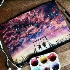 ♥pinterest➡@Nor Syafiqah♥ Galaxy Painting, Galaxy Art, Cool Drawings, Drawing Pictures, Beautiful Drawings, Love Art, Painting Inspiration, Diy Art, Painting & Drawing