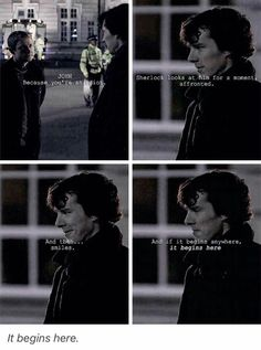 Right here, after the girlfriend/boyfriend questions at Angelo's, TJLC starts. Then Sherlock asks him out for dinner - the second time... I love this scene.