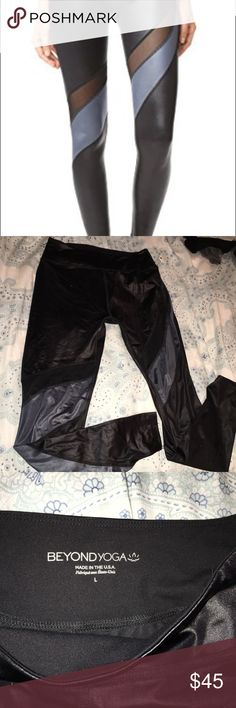 Beyond Yoga Gloss Over Waves legging Perfect for barre or Pilates. Black glossy material with a gray and mesh. Never worn. More like this in my closet! Beyond Yoga Pants Leggings