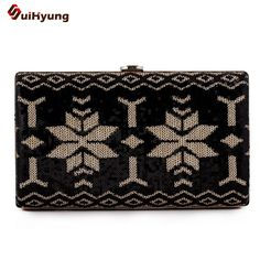 New Women's Clutch Sequined Hit Color Leaver Pattern Evening Bag Wedding Party Small Handbag Gold Silver Frame Shoulder Bag