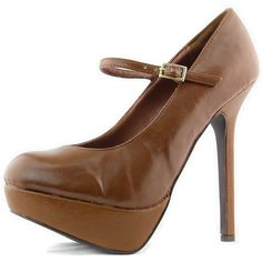 Save 10% + Free Shipping Offer * | Coupon Code: Pinterest10 Material: Man Made Leather Material. Brand: Breckelles Heel Height: 4.5 inches Heel, 0.75 inches platform (Approx) Product Code: Nikki-13 Tan Women's Breckelle's Nikki-13 Tan Color Mary Jane Pumps