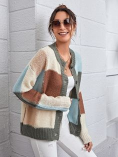 Drop Shoulder Button Front Colorblock Cardigan Fashion News, Fashion Outfits, Color Blocking, Sweater Cardigan, Clothes For Women, Women's Clothes, Drop, Pullover, Shoulder
