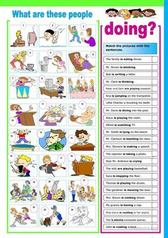 Part 1 - match action words with the pictures Part 2 - write sentences using the present continuous tense. Grammar: Present continuous (progressive) tense; Grammar And Vocabulary, Grammar Lessons, Grammar Worksheets, English Vocabulary, English Grammar, English Language, Printable Worksheets, English Games, English Activities