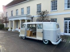 Our 1959 splitscreen camper van, Peggy sitting pretty outside Field Place Manor House in West Sussex. Winter Wedding   Camper Van Wedding Car Wedding Hire, Vintage Weddings, Vw Camper, East Sussex, Bay Window, Surrey, Recreational Vehicles, House, Places