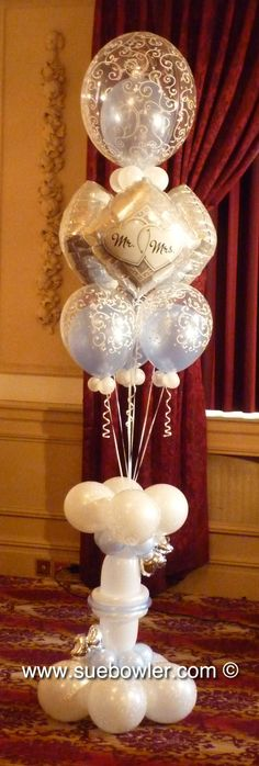 'Mr Mrs' - Elegant Pedestal Bouquet with Microfoil balloons and Bubble - elegant in and - Sue Bowler CBA Wedding Series 1 Wedding Balloon Decorations, Balloon Centerpieces, Wedding Balloons, Reception Decorations, Qualatex Balloons, Helium Balloons, Bubble Balloons, Balloon Columns, Balloon Arch