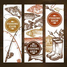 Fishing Vertical Banners Set by macrovector Fishing Sketch Concept. Banners, Banner Drawing, Fishing Shop, 257, Vector Portrait, Fish Design, Vector Photo, Vector Pattern, Vector Design