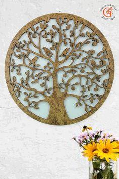 """Lebensbaum Baum des Lebens aus Holz  Graviert kork Design """"Symbol der Kosmischen Ordnung"""".  Wanddeko Holzdekor  Wandbild Dekoration Deko Geschenk zum Geburtstag Hochzeit  Muttertag Weihnachten"""