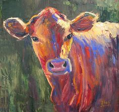 Artists Of Texas Contemporary Paintings and Art - Painted Cow, Contemporary Cow Painting by Sheri Jones