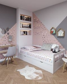cute and girly bedroom decorating tips for girl 14 - 43 Cute and Girly Bedroom Ideas Decorating Tips for Girl Girl Bedroom Designs, Room Ideas Bedroom, Baby Room Decor, Girls Bedroom, Bed Room, Sister Bedroom, Baby Rooms, White Bedroom, Mirrored Bedroom
