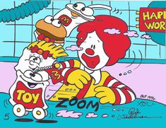 Ad agency art director Rich Seidelman's 1996 proposed storyboard drawing featuring the brand new TOY Puppet, plus the redesigned female French Fries, Hamburger and Soft Drink Puppets. McDonaldland. McDonald's Happy Meal. Happy Meal Workshop. Ronald McDonald. Storyboard Drawing, Soft Drink, French Fries, Art Director, Black Stripes, Clowns, Hamburger, Ronald Mcdonald, Art Inspo