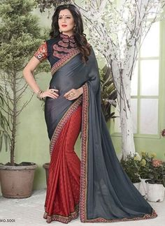 Amazing Grey And Red Half N Half Jacquard Party Wear sarees http://www.angelnx.com/Sarees/Party-Wear-Sarees