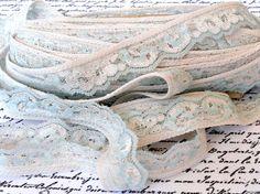 Vintage Lace Trim Light Blue Off White by VikisVarietyCraft