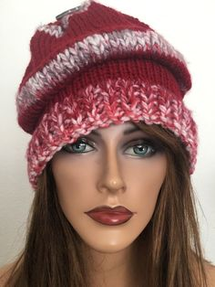 Hand Knits 2 Love Beanie Slouch Hat Chemo Designer Fashion Hip Burgundy   | eBay