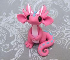 Cute little pink polymer clay dragon by DragonsandBeasties on Etsy: