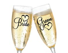 Bride and Groom Hearts Flirty Script Vinyl Decals.  Cute easy way to customize your glasses, or for an engagement party
