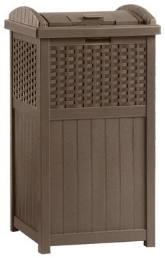 Really nice trash can for your patio/outdoors. Amazon.com: Suncast GHW1732 Resin Wicker Trash Hideaway: Patio, Lawn & Garden