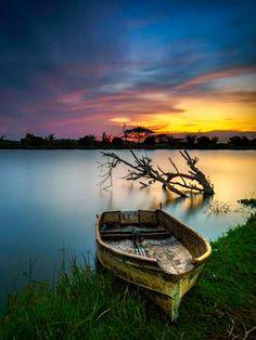 Boat at sunset . Source plus.google.com