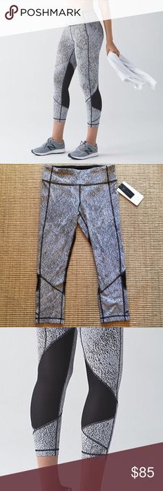 Lululemon Pace Rival Crop Only worn 1 time, in perfect condition. Pockets on the side. Mesh in the back, super cute and flattering. lululemon athletica Pants Leggings