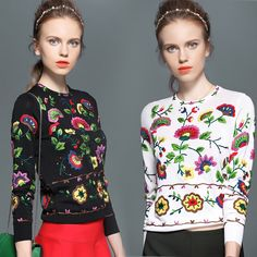 2015 fashion womens long-sleeved sweater Brand style embroidery o neck sweaters for female lady women black white slim dropship