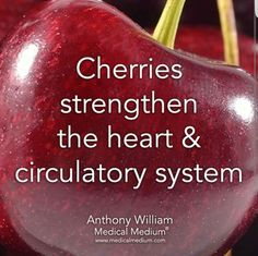 Holistic Health Remedies Cherries strengthen the heart and circulatory system. Health Facts, Health And Nutrition, Health And Wellness, Health Tips, Health Fitness, Wellness Foods, Health Heal, Health Articles, Fruit Benefits