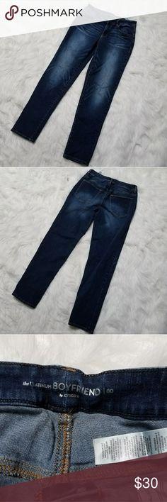 Chico's platinum boyfriend jeans size 00 Women's Chico's platinum boyfriend jeans size 00, dark wash, measurements waist 14 inches inseam 29 Chico's Jeans Boyfriend