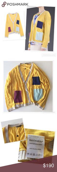 Marimekko 'Paikat' cardigan Unique Marimekko 'Paikat' cardigan. 100% wool. Lightweight knit. Multicolored rib knit patch pockets. Size S. Relaxed fit. Never worn! Marimekko Sweaters Cardigans