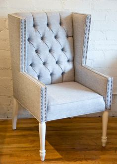 Tufted Mod Wing Dining chair.(no tuft, white or black white morrocan print - head chair at dining table.)