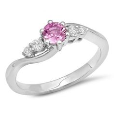 <3 <3 <3 Share for $20 off your purchase of $100 or more! 0.70 Carat (ctw) 14K White Gold Round Pink Sapphire and White Diamond Ladies 5 Stone Swirl Bridal Engagement Ring 3/4 CT - Dazzling Rock #https://www.pinterest.com/dazzlingrock/