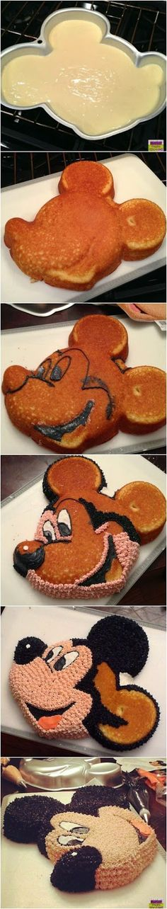 Wilton's Mickey Mouse Cake Step by Step Tutorial Mickey Mouse Clubhouse Cake, Mickey Mouse Clubhouse Birthday, Mickey Mouse Cake, Mickey Birthday, Mickey Party, Birthday Ideas, Minnie Mouse, 2nd Birthday, Disney Desserts