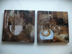 2 COFFEE DESIGN CANVAS WALL PLAQUES HOME DECOR 10 IN. RESTURANT KITCHEN LATTE