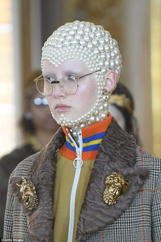 The showstopper: One model got an entire face and skull full of pearls in varying sizes