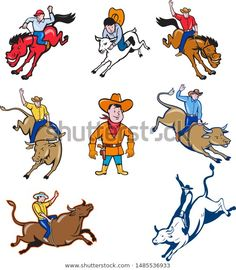 Collection of illustrations of cowboys in a rodeo done in cartoon style Collection of illustrations of cowboys in a rodeo done in cartoon style Cowboy Art, Sports Art, Cartoon Styles, Rodeo, Cartoon Characters, Cowboys, Royalty Free Stock Photos, Illustrations, Artist