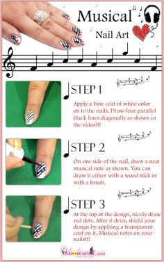 Musical Nail Art Design Tutorial For Beginners!!!!! Do you have a passion for music? If you have, you usually show it in your t-shirts and tattoos. It's time to show your music mania with this astonishing nail art i.e. Musical Nail Art.!!! Here's how to do it! https://www.youtube.com/watch?v=nfYC-mFvTXk