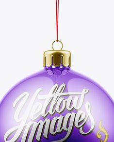 Metallic Christmas Ball Mockup - Front View (Close-up)