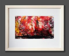 TITLE: SHIP at SUNSET  This image in 100 per cent is painted by hand, ink, painted  on the high quality, glossy chalk overlay paper.  The black night is flooding the red of the sun. The ship is slowly disappearing from the picture. Intense colours, are contrasting with themselves. Framed image in white, wooden frame.   The image contains the signature and the authenticity certificate. Size of the painting image 11,34 x 6,5 inches 28,8 x 16,5 cm
