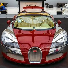 """""""Red on Chrome Bugatti  Follow @List25 for a daily escape of fun, random and extreme facts @List25  Photo by @paul_skg"""""""