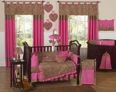 Pink and Brown Cheetah Print Baby Bedding. Soft, sweet and a little bit wild!