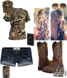"""spring"" by gollygirl1000 on Polyvore Cowgirl Outfits, Camo Outfits, Fashion Outfits, Cowgirl Style, Fashion Styles, Fashion Ideas, Hot Outfits, Fashion Clothes, Style Clothes"