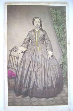 Tinted CDV Early 1860s Woman in Silk Crinoline Jos Alfter Philadelphia | eBay