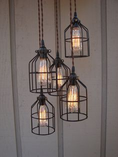 5 Light Industrial Bulb Cage Pendant with Upcycled Brushed Aluminum Canopy I <3 the Edison bulbs!!!