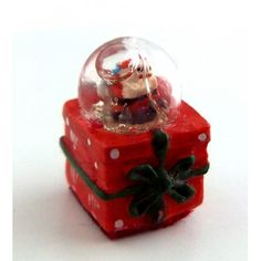 Dolls House Miniature 1:12 Scale Accessory Ornament Christmas Present Snow Globe