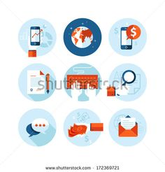 Set of modern flat design icons on business and finance theme. Icons for mobile phone business app, e-commerce, contract, internet marketing, market research, banking and money transfer, communication - stock vector
