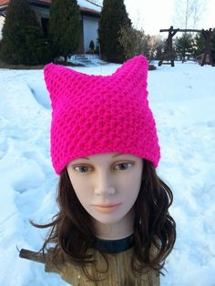 Pink NEON Cat Hat Cat Hat Knit Hat Knit Pussy by Isabellwoolstudio