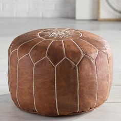 Cherise Round Pouf Leather Ottoman by Mistana Leather Pouf Ottoman, Moroccan Leather Pouf, Pouf Footstool, Moroccan Pouffe, Moroccan Decor Living Room, Party Decoration, Cocktail Ottoman, My Living Room, Small Living