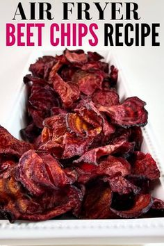 Learn how to make beet chips in the air fryer! Crispy air-fried beet chips are a healthier choice than chips, but the same crave-worthy crunch. Air Fryer Recipes Snacks, Air Fryer Recipes Breakfast, Vegetable Chips, Vegetable Recipes, Healthy Chips, Healthy Recipes, Easy Recipes, Oven Recipes, Healthy Food