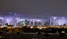 lightning hitting the entire city of Dallas