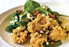 Spinach salad with fried oysters and bacon-blue cheese Vinaigrette.toss spinach and frisée with dressing and tip with fried oysters, crumbled bacon and blue cheese Creole Recipes, Cajun Recipes, Fish Recipes, Seafood Recipes, Salad Recipes, Cooking Recipes, Seafood Dishes, Gourmet Recipes, Recipies