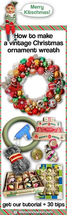 How to make vintage ornament wreath, Our tutorial and tips to make your own vintage Christmas ornament wreath How to make vintage ornament wreath. Vintage Christmas Crafts, Retro Christmas, Christmas Love, Xmas Crafts, Vintage Holiday, Christmas Holidays, Victorian Christmas, Primitive Christmas, Outdoor Christmas