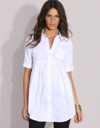 This is a good example of a flattering simple empire line shirt.  Although empire line, this style does not have too many pleats or fabric. Covers the tummy and waist and has  a good sleeve to cover upper arms.  Sorry don't know the brand, style reference only.